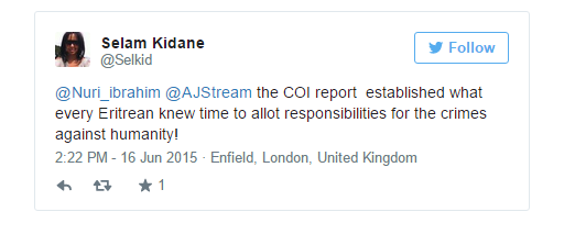 Selam Kidane tweet on AJ Stream article